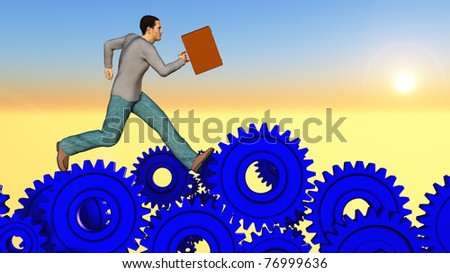 Man with briefcase running though a gauntlet of blue gears in a surreal colorful landscape. Conceptual metaphor on personal and business challengers and obstacles.  Illustration