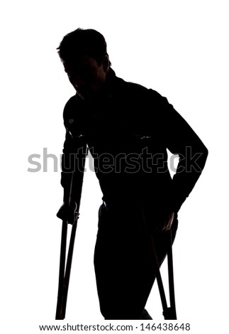 Man with broken leg in silhouette isolated over white background