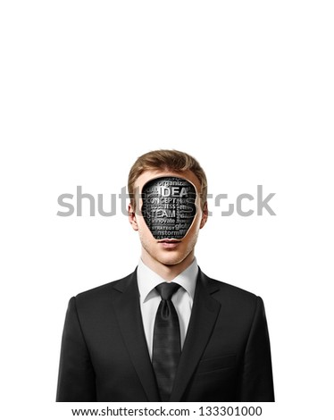 man with business tags inside head isolated on white