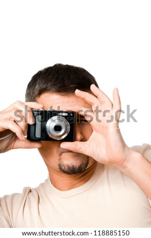 Man with camera isolated on white