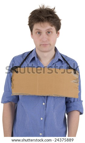 Man with carton tablet hang on neck