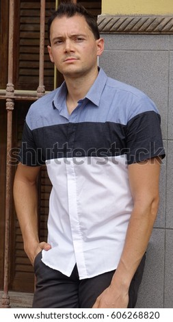 Back pose of a casual male model Images and Stock Photos