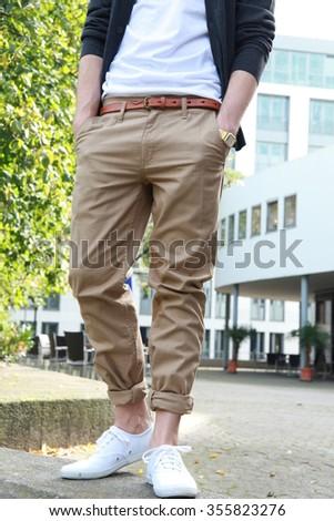 man with chinos, chino pants Foto stock ©