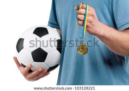Man with classic soccer ball and medal on isolated white background