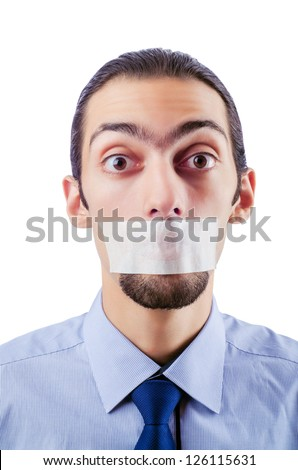 Man with closed lips in censorship concept Stock photo ©