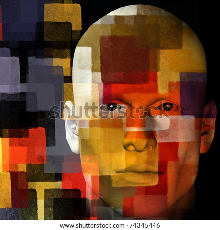 Man with colorful squares pattern. 3d illustration.