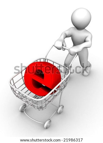 Man with Consumer basket and sign for internet. 3d