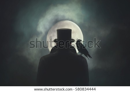Man with crow on his shoulder observing the moon