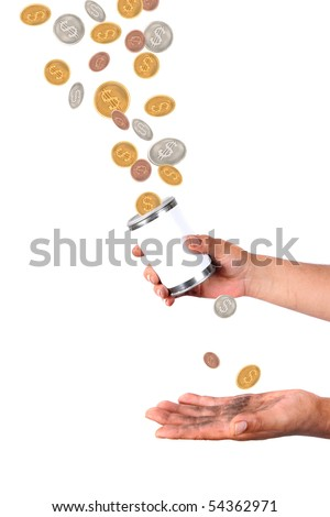 Man with dirty hands holds a tin with blank label catching dollars and cents coins falling from the air