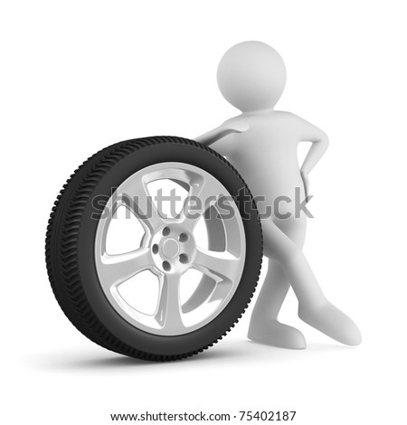 man with disk wheel on white background. Isolated 3D image