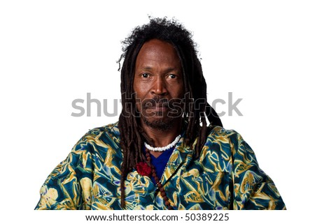 Man with dreadlocks looking serious, isolated on white