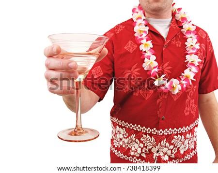 Man with Drink in Hawaiian shirt.