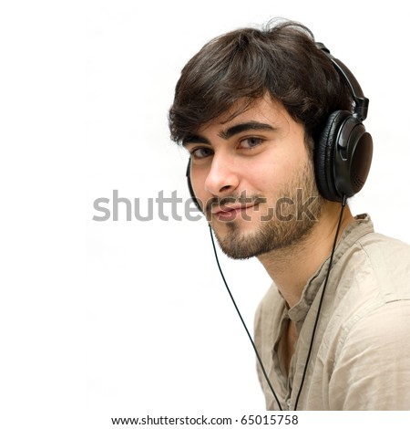 Man with ear-phones isolated on white.