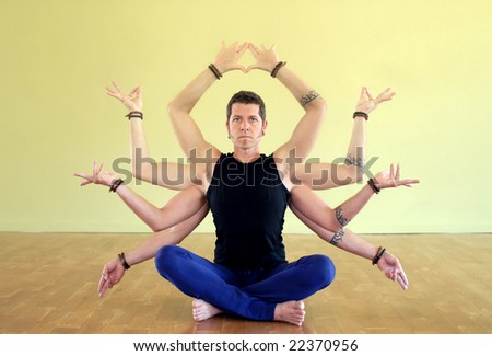 Man with eight limbs as manifestation of Shiva.