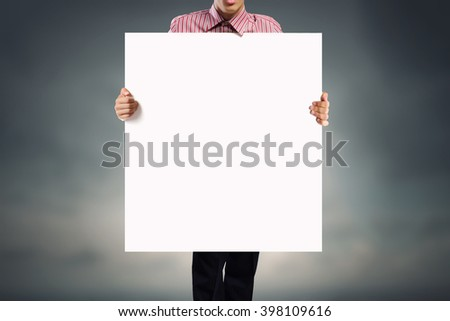 Man with empty banner #398109616