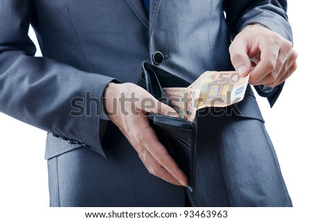 Man with euro banknotes