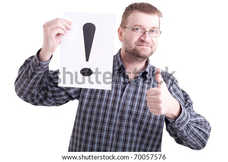 Man with exclamation mark on white background