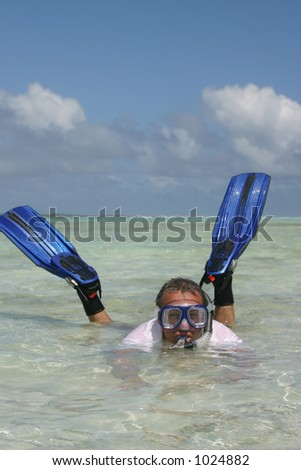 Man with fins and mask