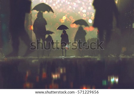 man with flowers bouquet holding umbrella standing alone in a crowds of people crossing the street on a rainy night,illustration painting