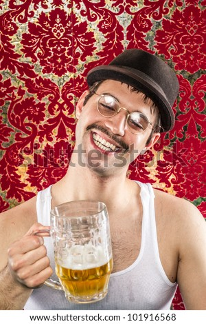 Man with funny smile, brown hat, white wife beater, spectacles, mustache getting drunk at vintage bar on light golden ale