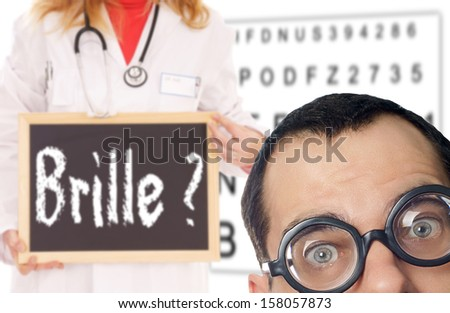 Man with glasses and a doctor with shield and the german word glasses ? / Eye Test