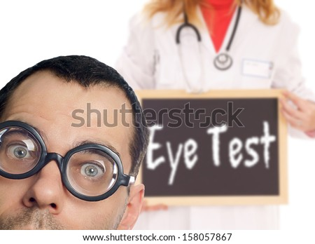 Man with glasses and a doctor with shield Eye Test / Eye Test