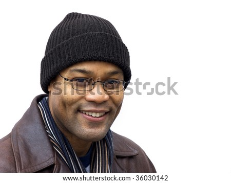 man with glasses in the cold outdoors