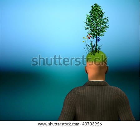 Man with green growth top of head
