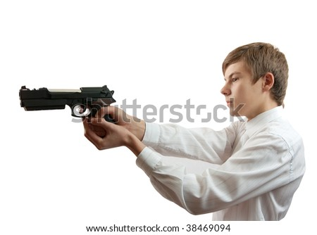 man with gun  against  the white background - stock photo