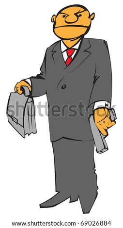 Man with gun and brief case in grey suit. Raster version. Vector version is also available.
