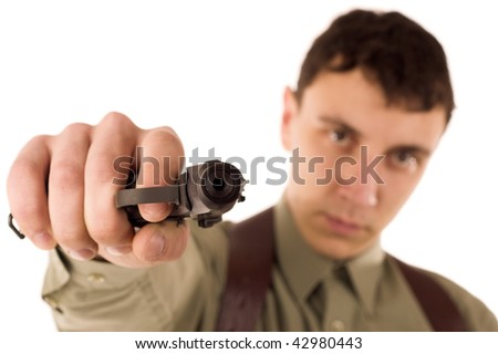 man with gun on white isolated