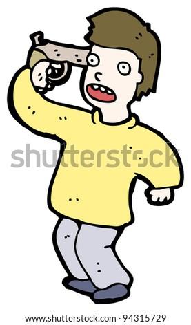 man with gun to own head cartoon (raster version)