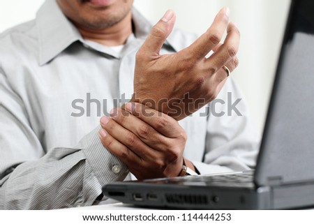 Man with hand pain.Close up.