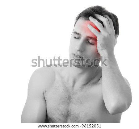 man with headache  isolated on white background, monochrome photo with red as a symbol for the hardening