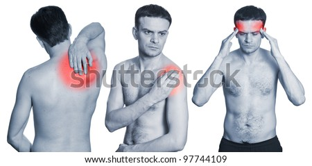 Man with headache, neck in pain and shoulder having ache isolated on white background. Monochrome photo with red
