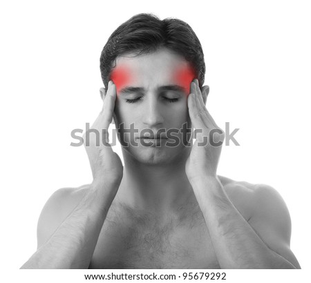man with headache on white background, isolated on white background, monochrome photo with red as a symbol for the hardening