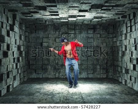 man with headphone dancing in a 3d grunge background