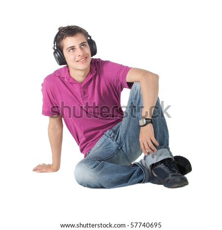 Man with headphones listening to music - isolated over a white background