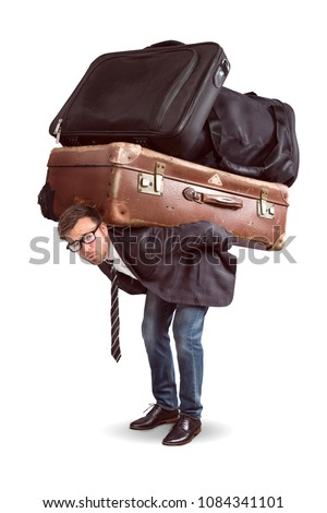 Man with heavy baggage
