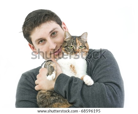 man with his cat isolated on white