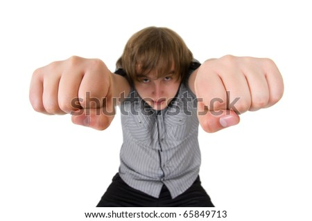 man with his fists up