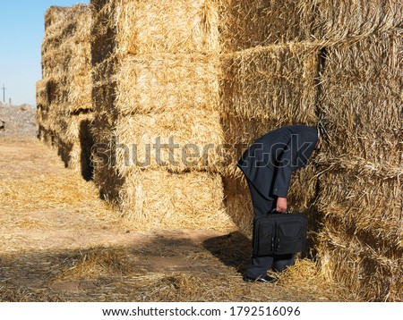 Man with his head stuck in haystack Stock photo ©