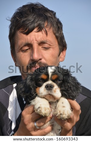 man with his pet dog
