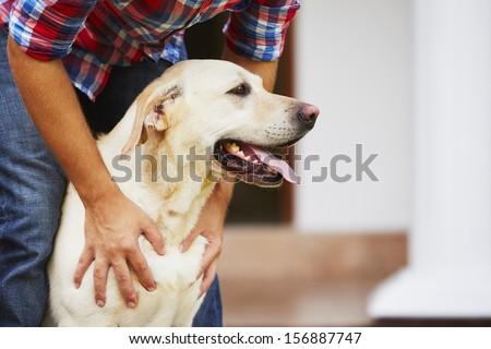 Man with his yellow labrador retriever