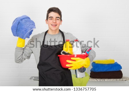 man with household and household cleaning products #1336757705