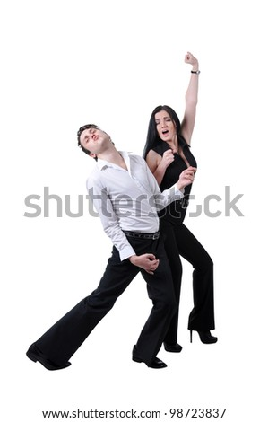man with imaginative guitar and woman with invisible microphone performing song, isolated on white