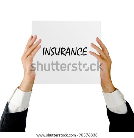 Man with insurance advertisement
