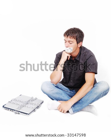 Man with isolated mouth and chained laptop