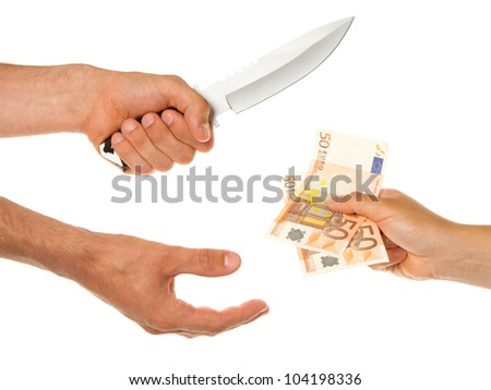 Man with knife threatening a woman to give money