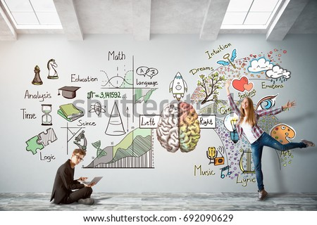 Man with laptop and cheerful young woman in bright concrete interior with brain sketch on wall. Creative and analytical thinking concept. 3D Rendering